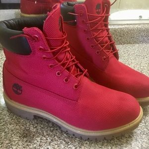 Red Timberlands men's size 10.5